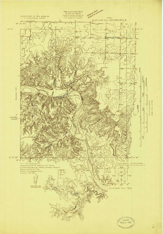 USGS 1:48000-SCALE QUADRANGLE FOR QUANAH 3-A, TX 1927