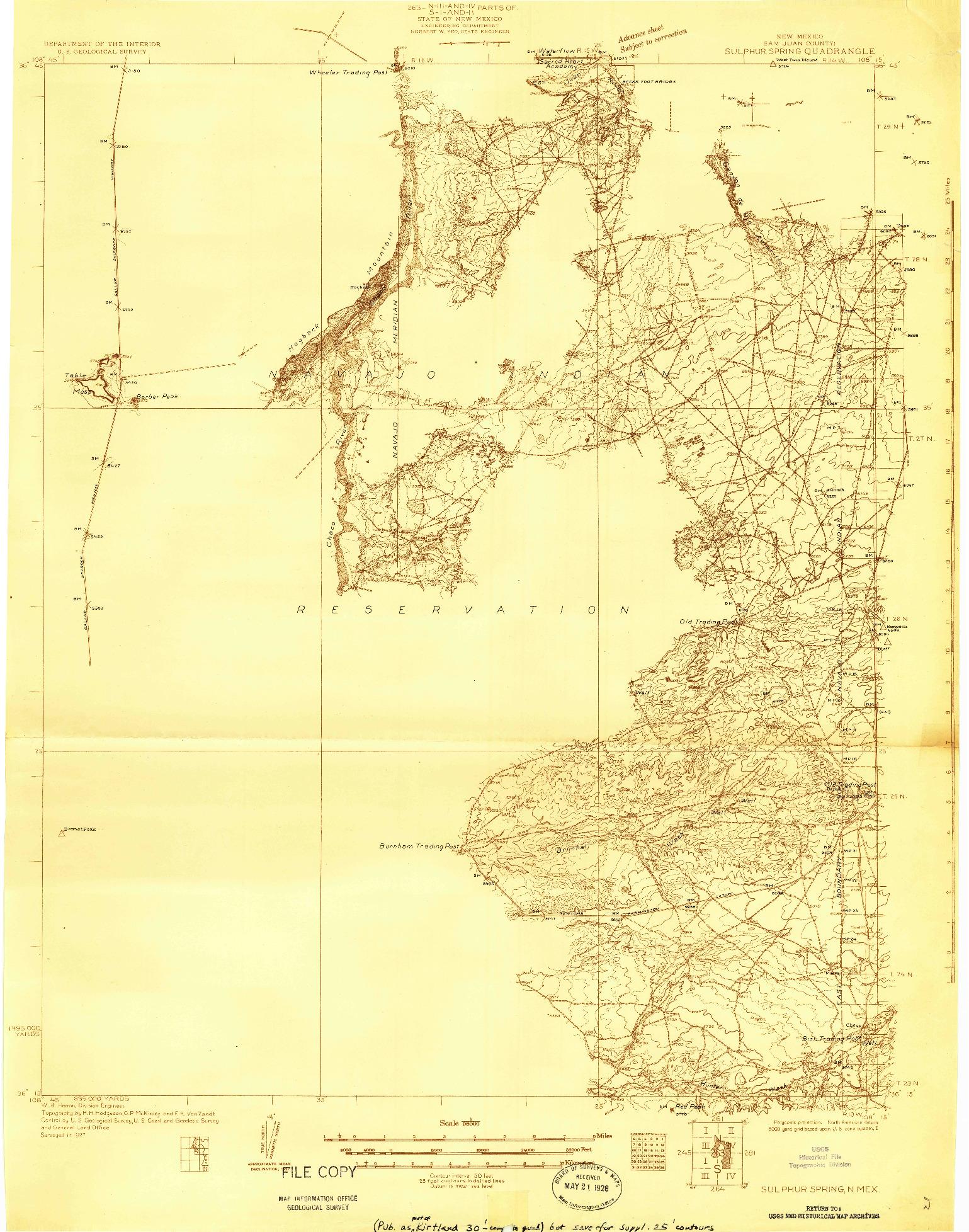 USGS 1:96000-SCALE QUADRANGLE FOR SULPHUR SPRING, NM 1927