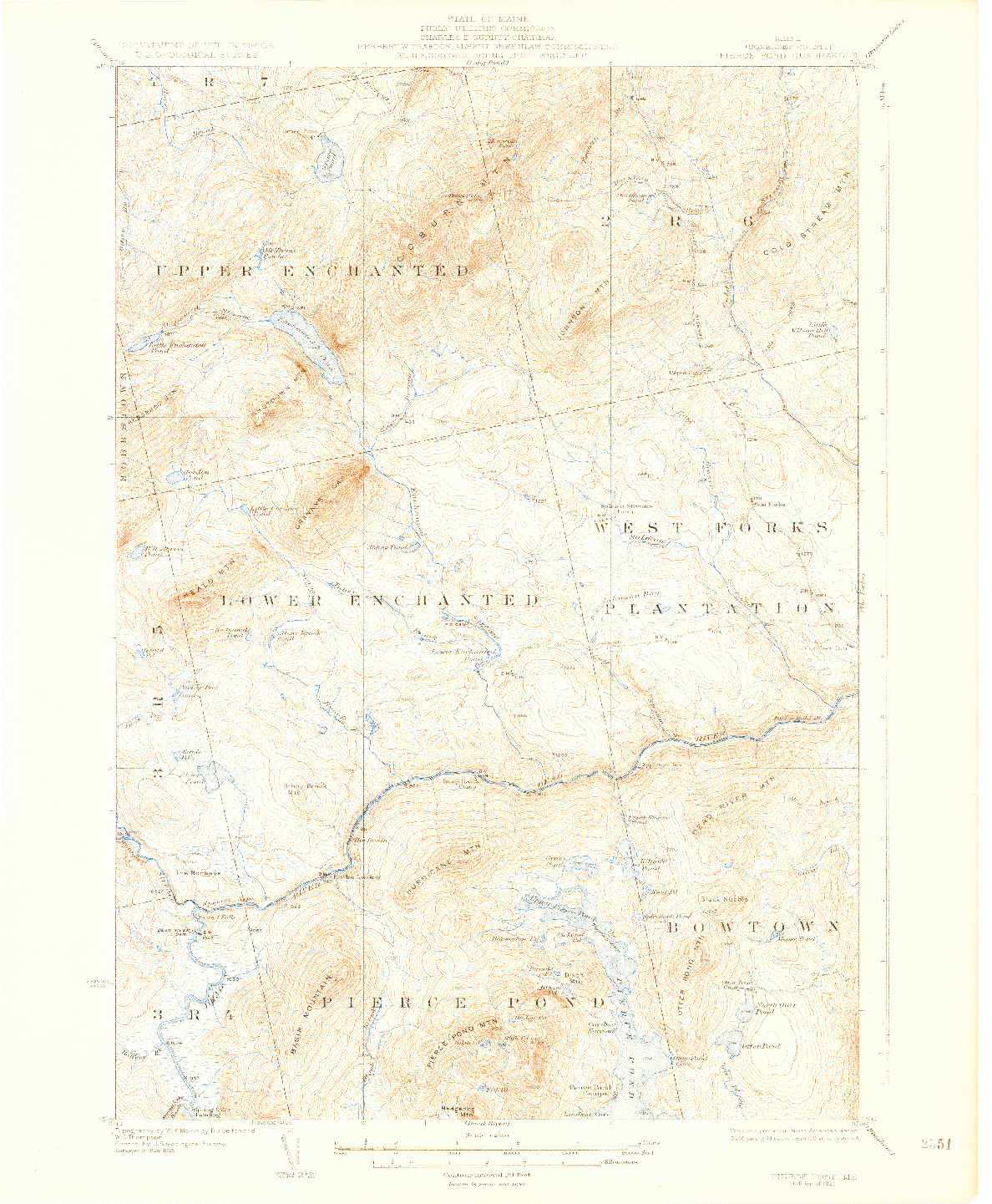 USGS 1:62500-SCALE QUADRANGLE FOR PIERCE POND, ME 1927
