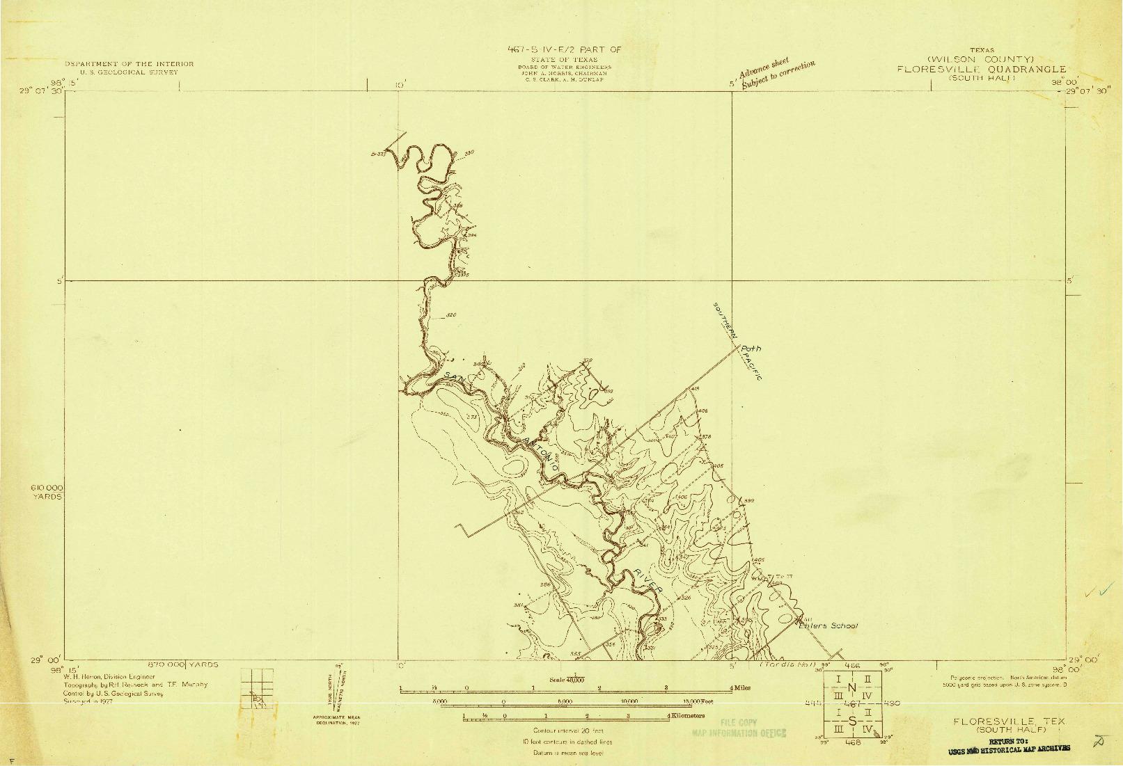 USGS 1:48000-SCALE QUADRANGLE FOR FLORESVILLE, TX 1927