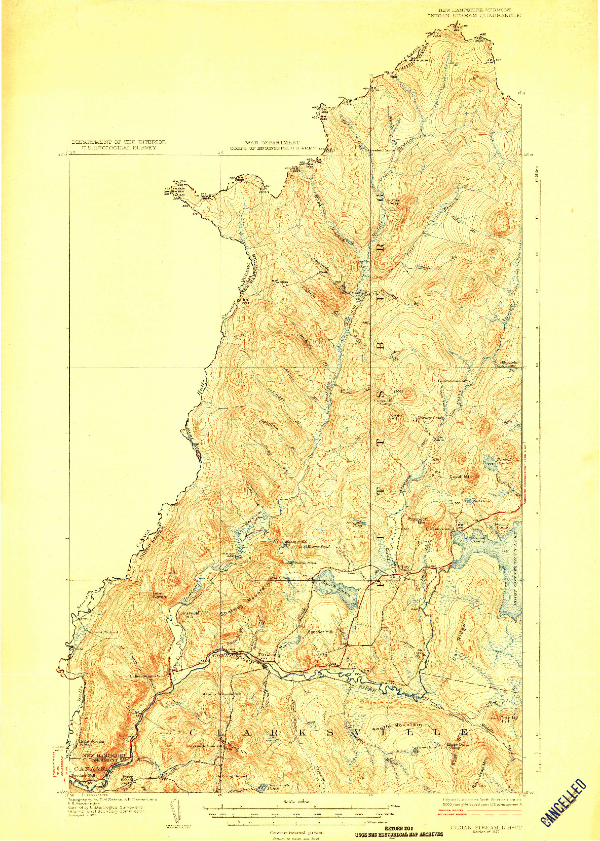 USGS 1:62500-SCALE QUADRANGLE FOR INDIAN STREAM, NH 1927