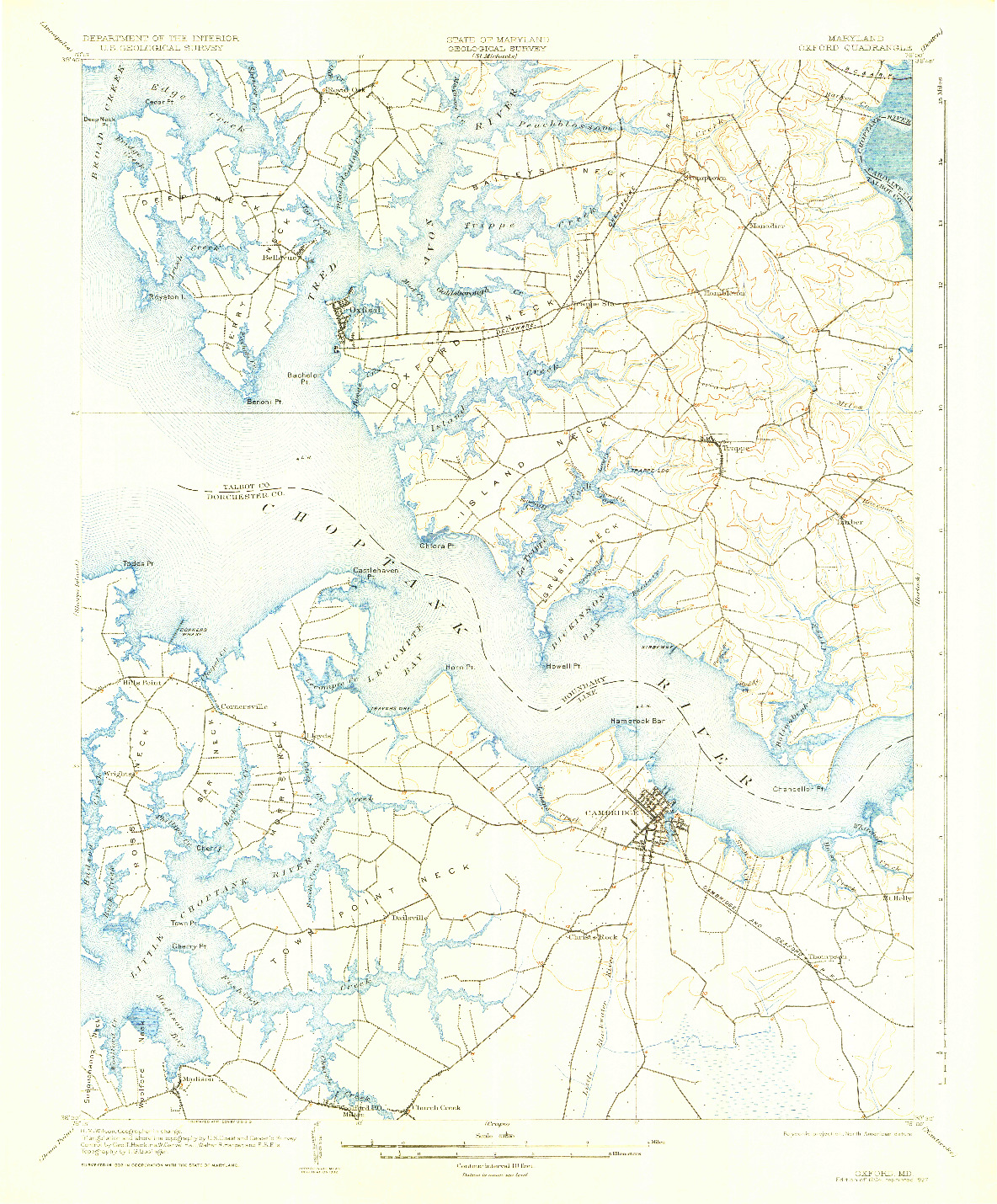 USGS 1:62500-SCALE QUADRANGLE FOR OXFORD, MD 1904