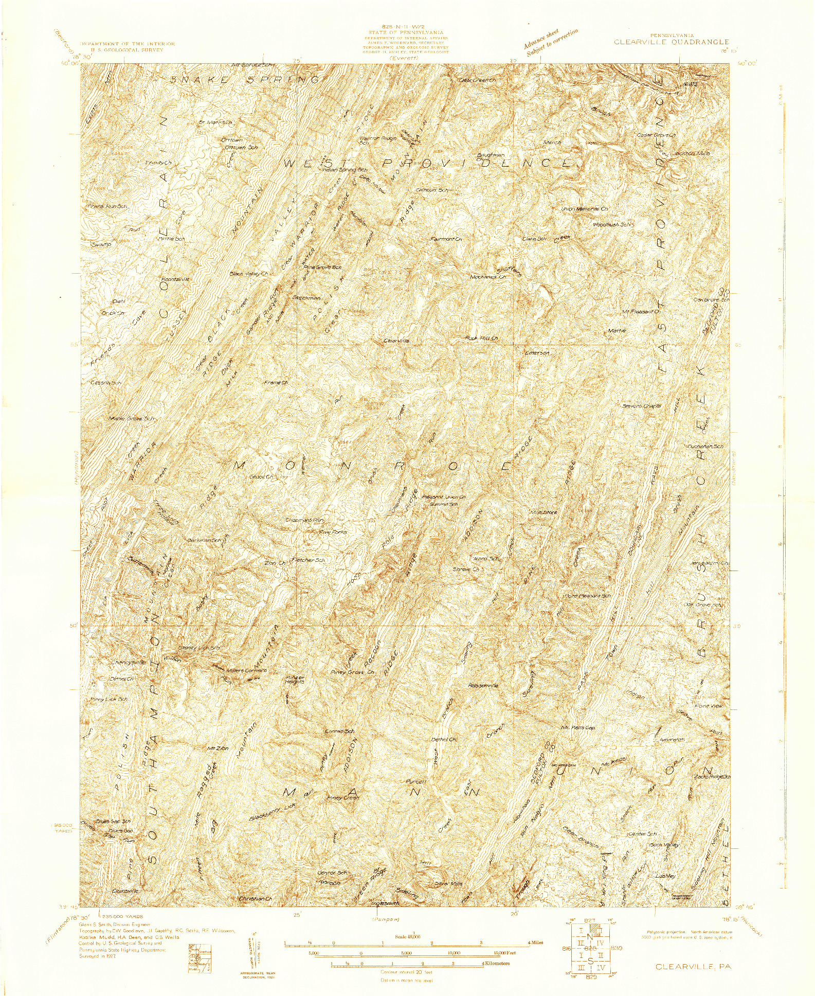 USGS 1:48000-SCALE QUADRANGLE FOR CLEARVILLE, PA 1927