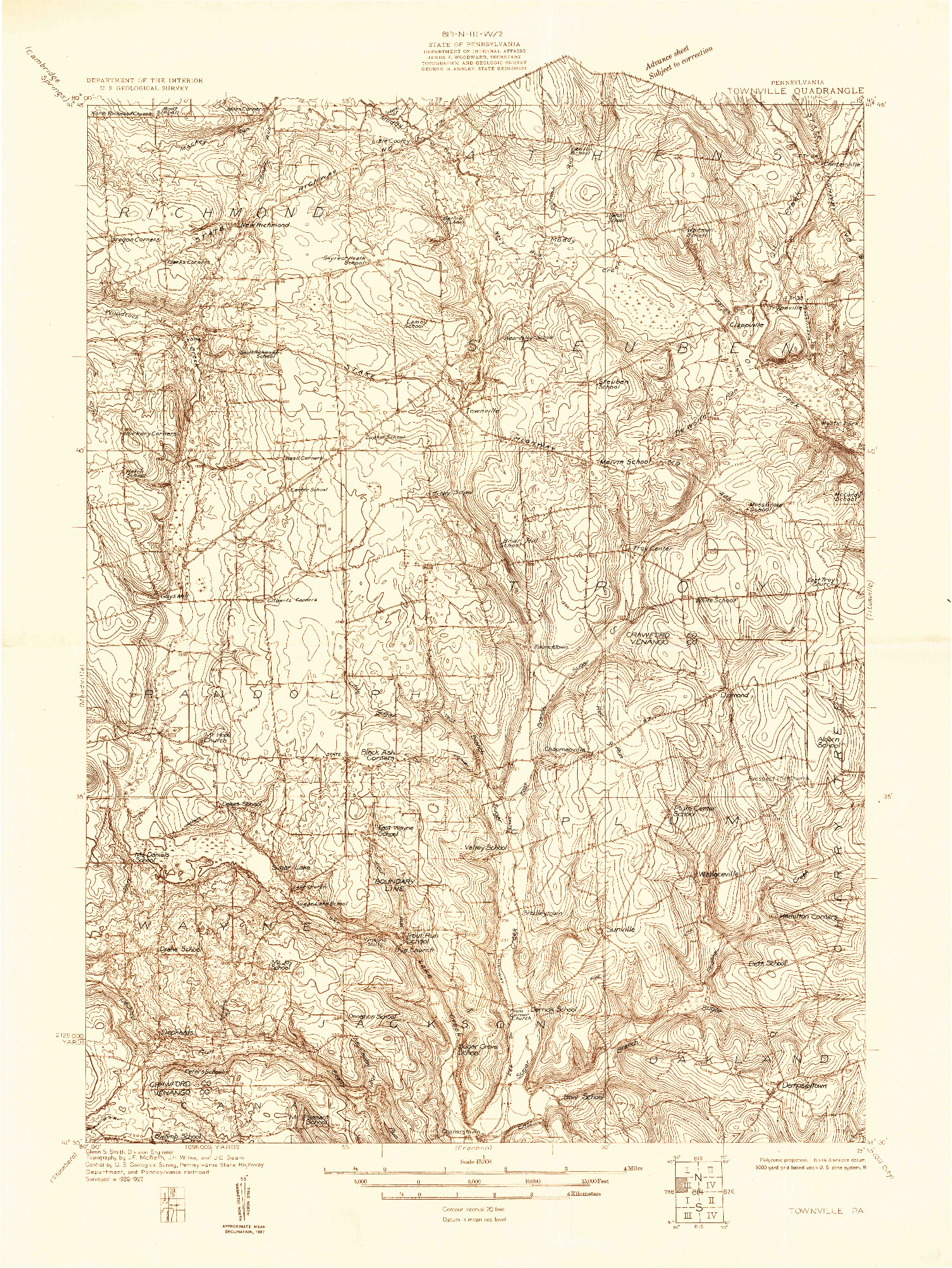 USGS 1:48000-SCALE QUADRANGLE FOR TOWNVILLE, PA 1927