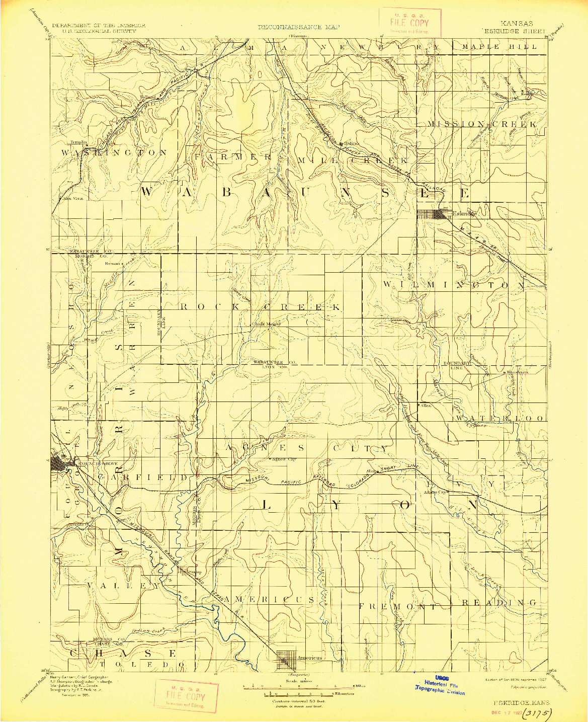 USGS 1:125000-SCALE QUADRANGLE FOR ESKRIDGE, KS 1894