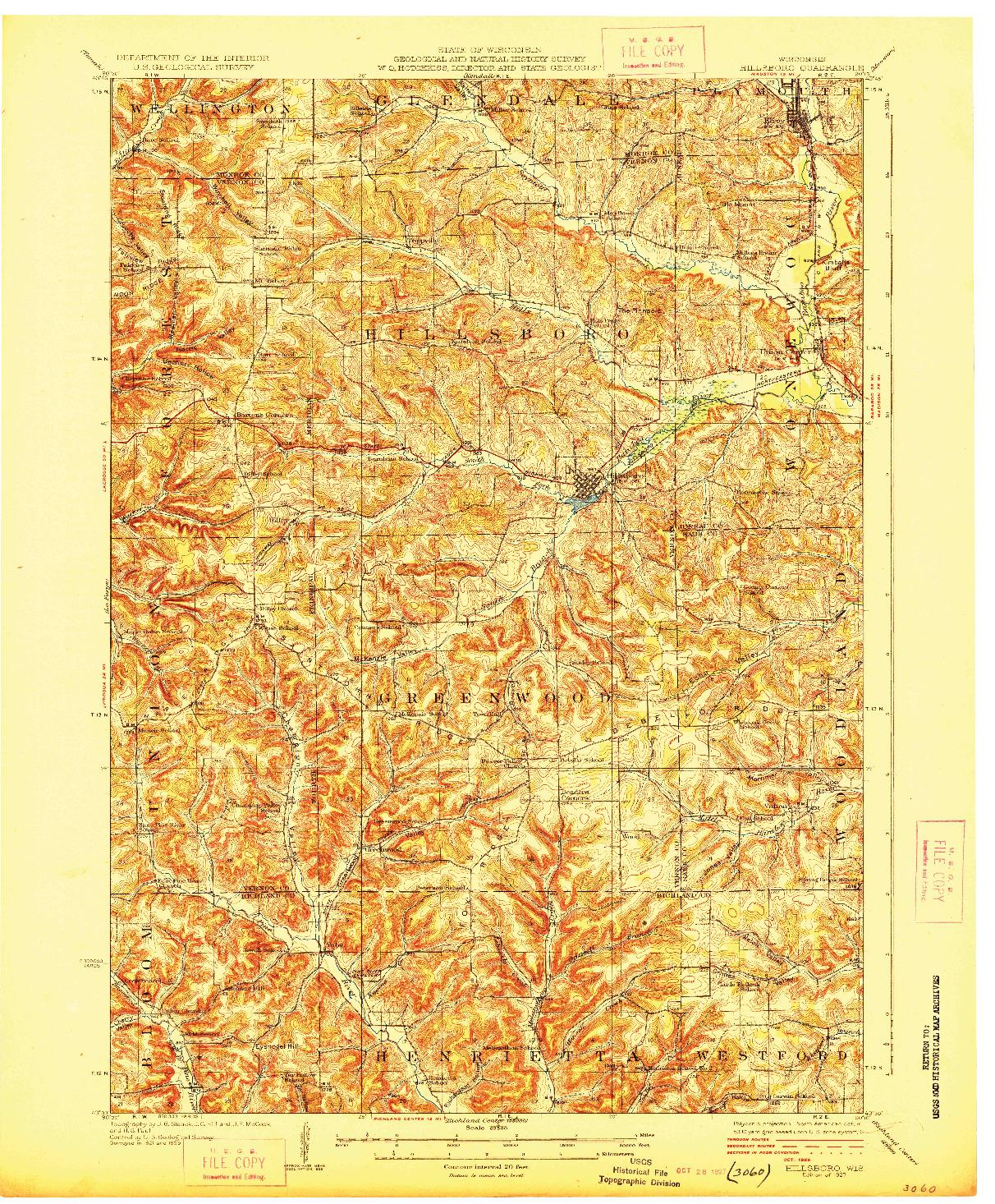 USGS 1:62500-SCALE QUADRANGLE FOR HILLSBORO, WI 1927