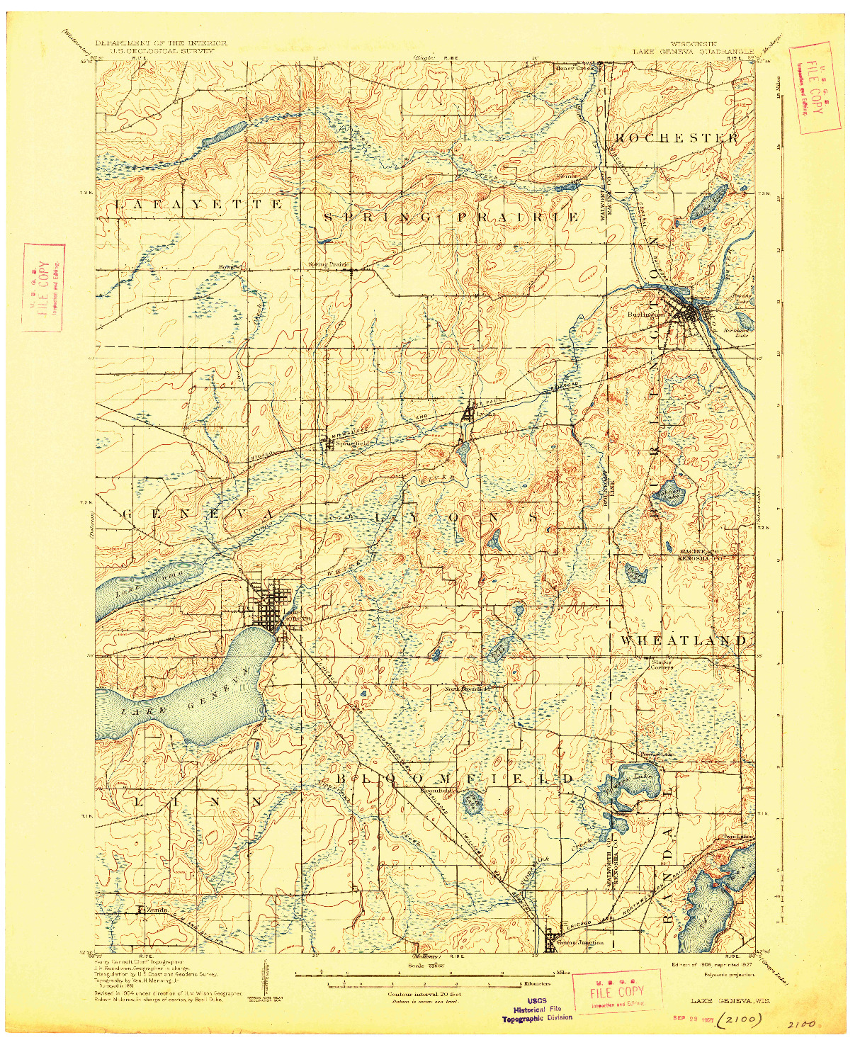 USGS 1:62500-SCALE QUADRANGLE FOR LAKE GENEVA, WI 1906