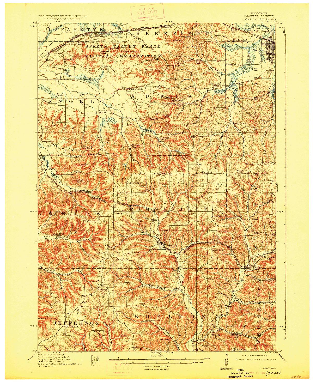 USGS 1:62500-SCALE QUADRANGLE FOR TOMAH, WI 1916