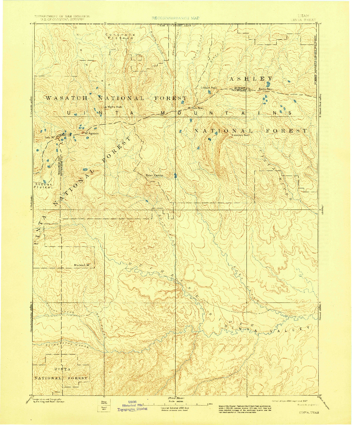 USGS 1:250000-SCALE QUADRANGLE FOR UINTA, UT 1885