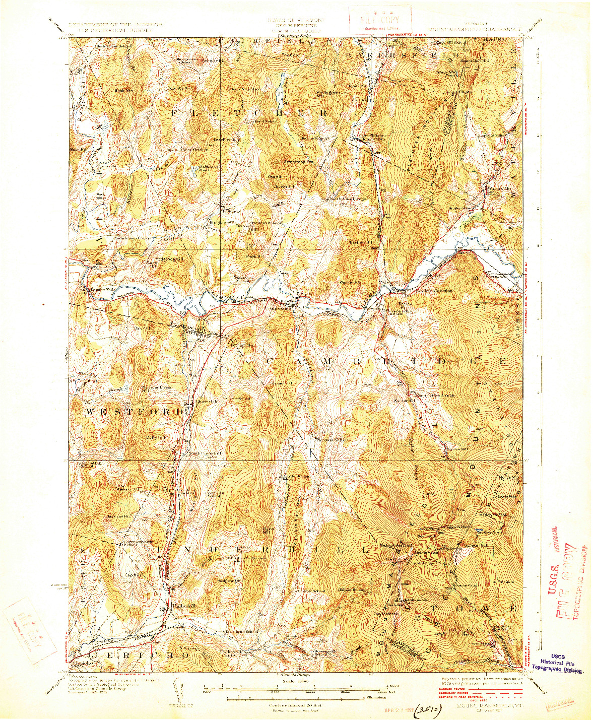 USGS 1:62500-SCALE QUADRANGLE FOR MOUNT MANSFIELD, VT 1927