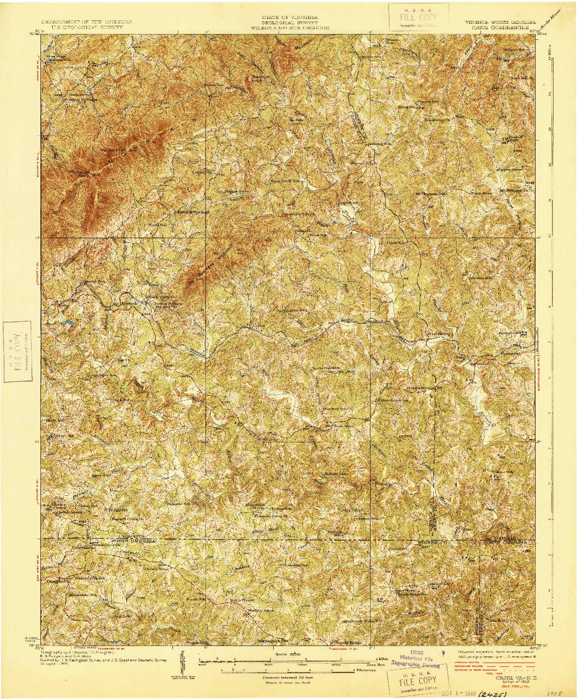 USGS 1:62500-SCALE QUADRANGLE FOR CRITZ, VA 1928