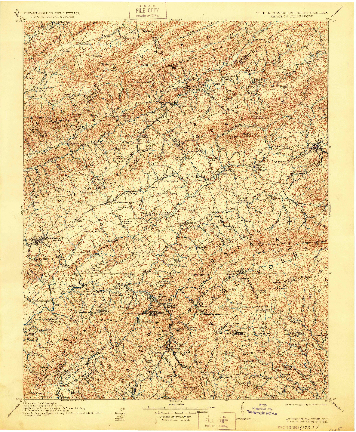 USGS 1:125000-SCALE QUADRANGLE FOR ABINGDON, VA 1911
