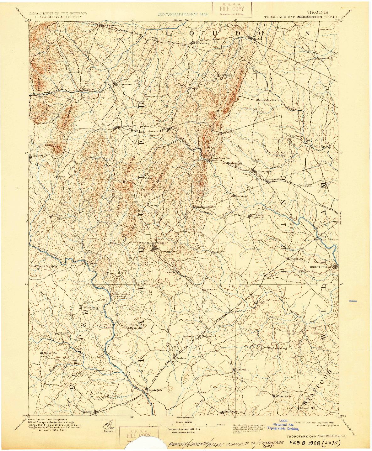 USGS 1:125000-SCALE QUADRANGLE FOR THOROFARE GAP, VA 1894
