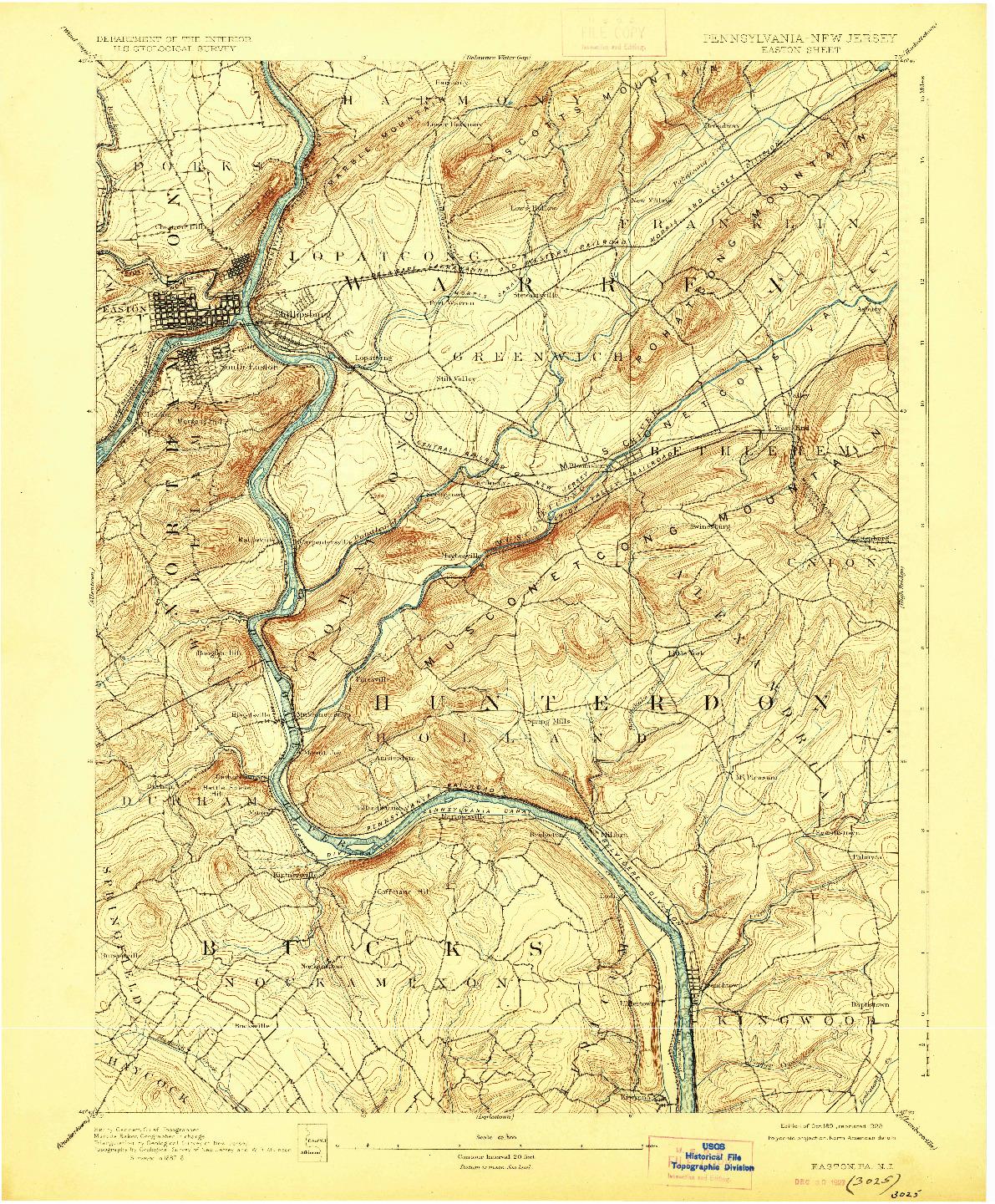 USGS 1:62500-SCALE QUADRANGLE FOR EASTON, PA 1891