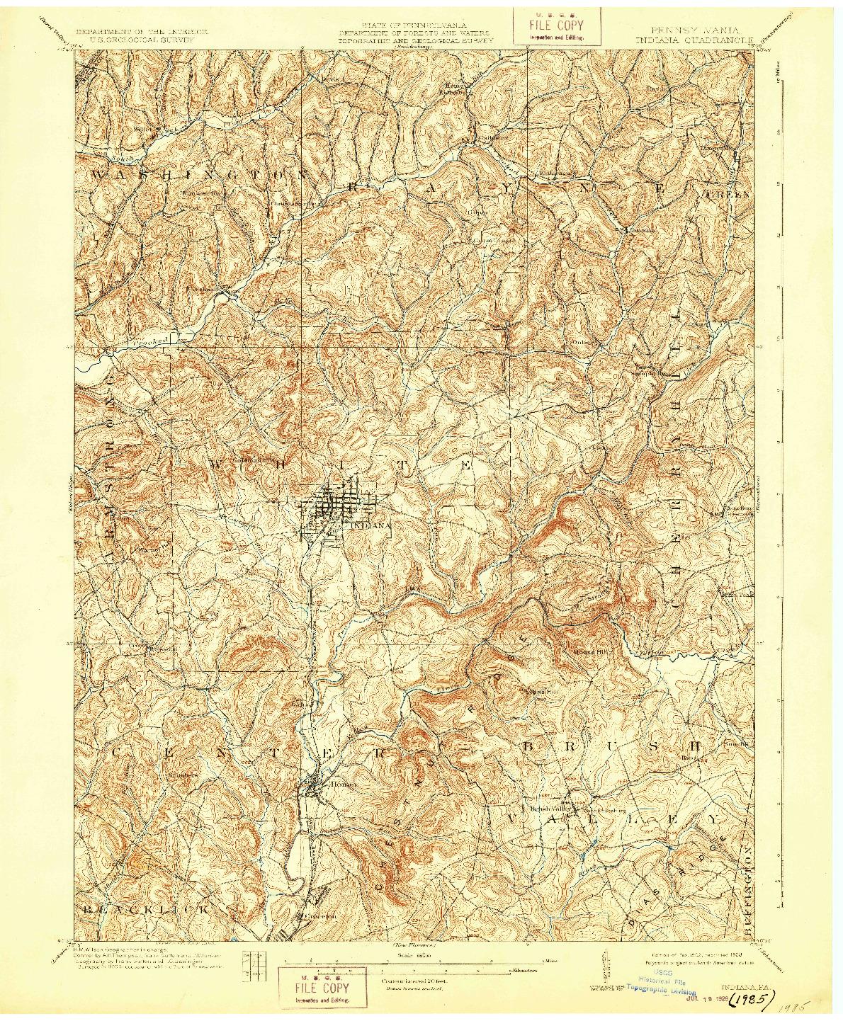 USGS 1:62500-SCALE QUADRANGLE FOR INDIANA, PA 1902