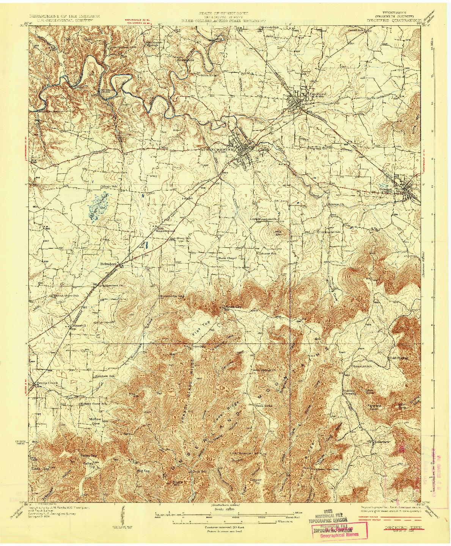 USGS 1:62500-SCALE QUADRANGLE FOR DECHERD, TN 1928