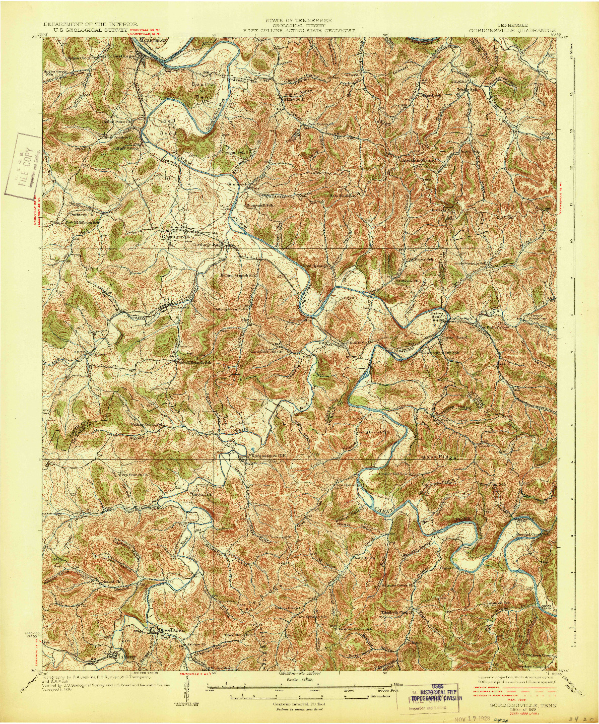 USGS 1:62500-SCALE QUADRANGLE FOR GORDONSVILLE, TN 1928