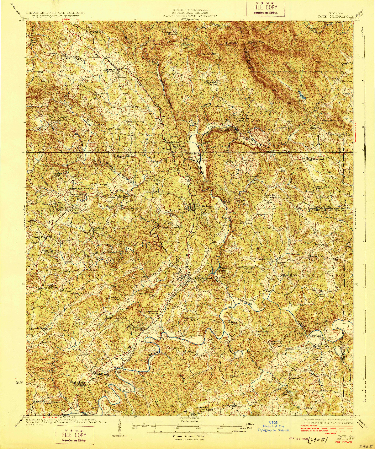 USGS 1:62500-SCALE QUADRANGLE FOR TATE, GA 1928