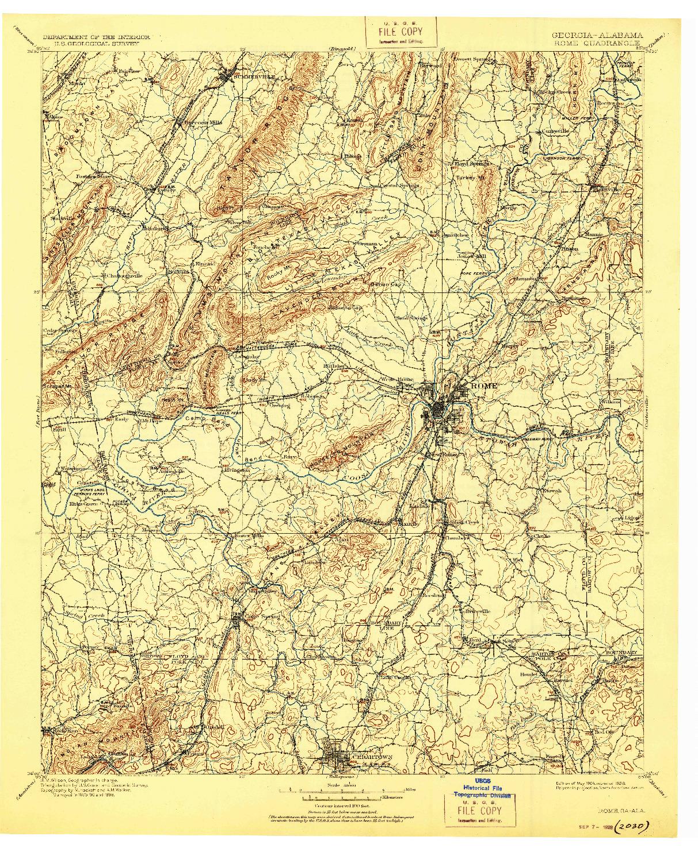 USGS 1:125000-SCALE QUADRANGLE FOR ROME, GA 1904