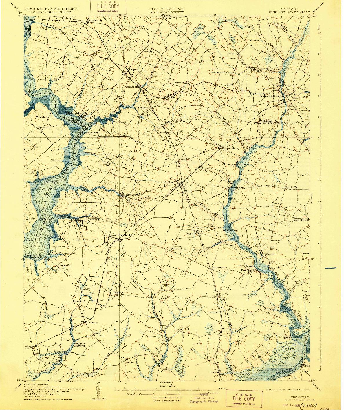USGS 1:62500-SCALE QUADRANGLE FOR HURLOCK, MD 1905