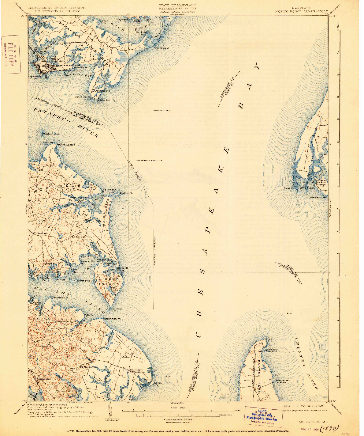 USGS 1:62500-SCALE QUADRANGLE FOR NORTH POINT, MD 1904