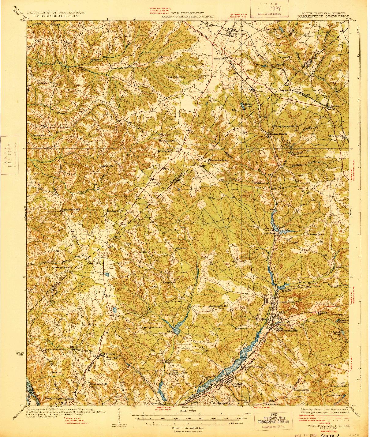 USGS 1:62500-SCALE QUADRANGLE FOR WARRENVILLE, SC 1928