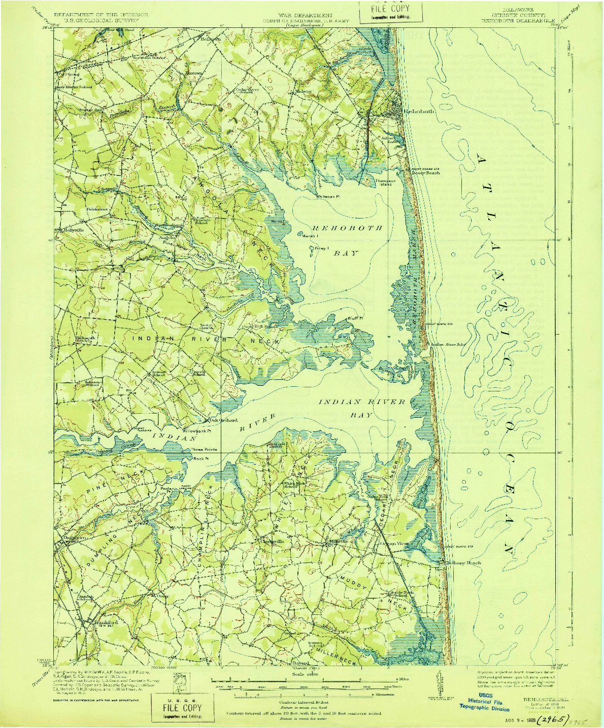 USGS 1:62500-SCALE QUADRANGLE FOR REHOBOTH, DE 1918