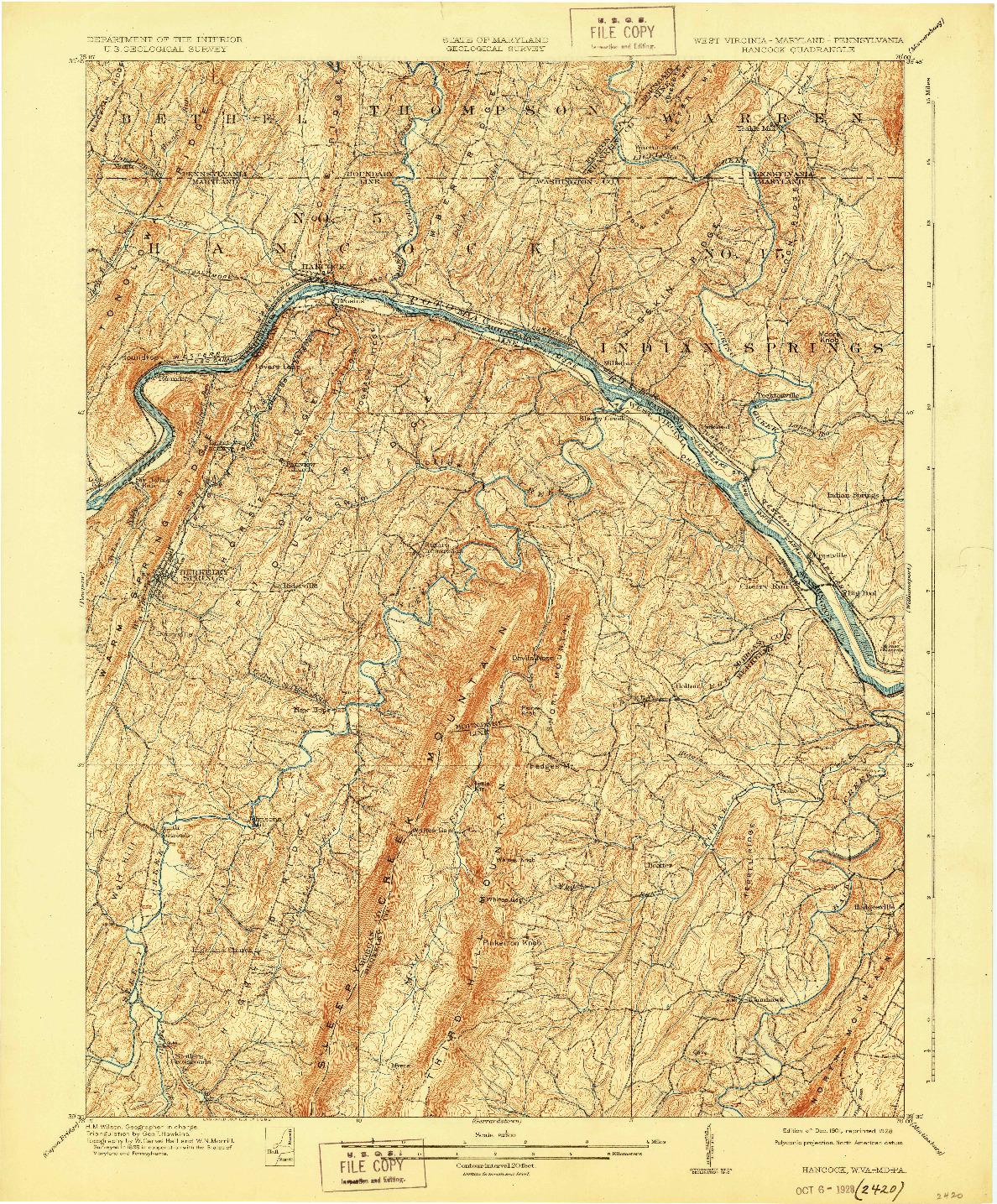 USGS 1:62500-SCALE QUADRANGLE FOR HANCOCK, WV 1901