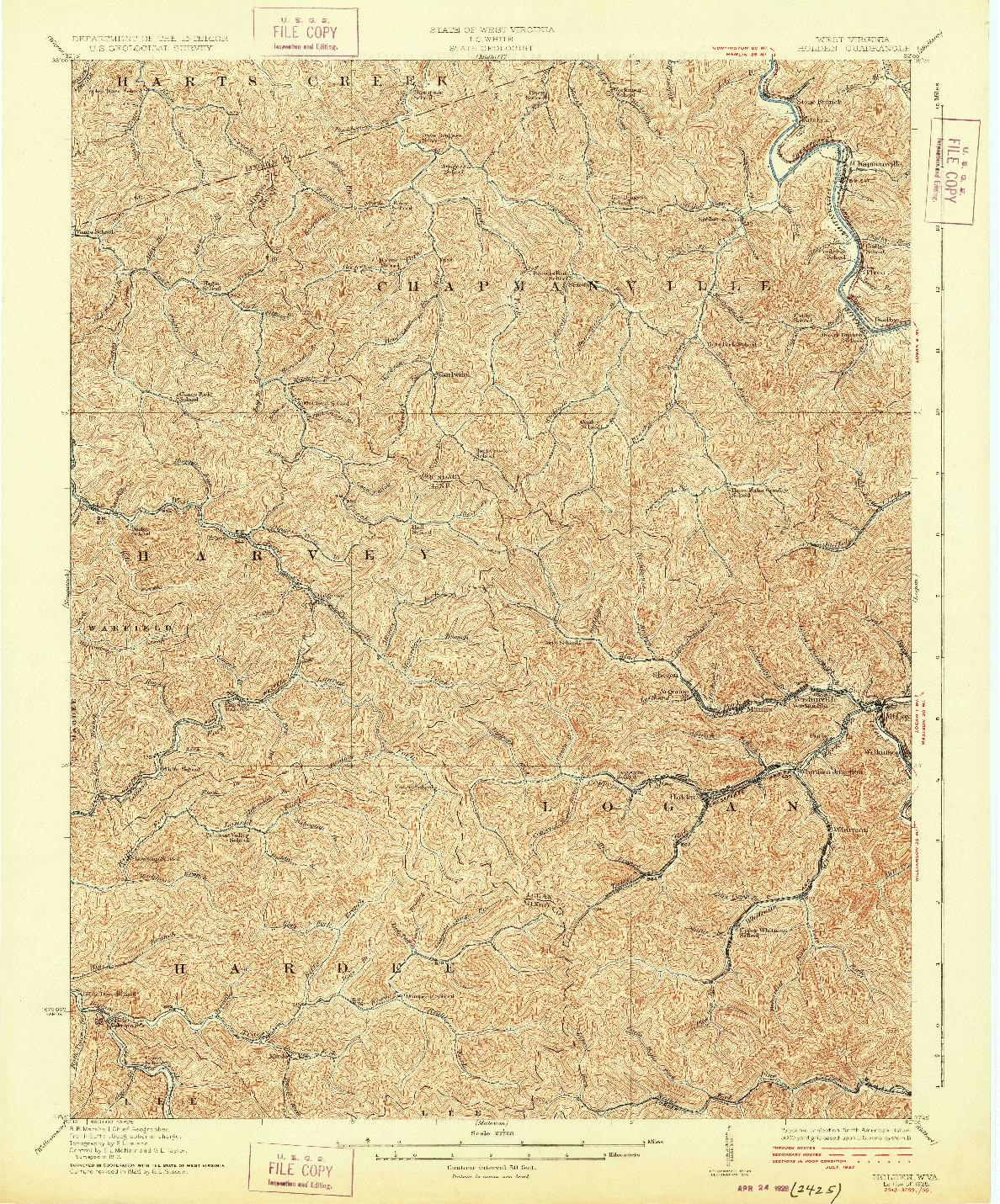 USGS 1:62500-SCALE QUADRANGLE FOR HOLDEN, WV 1928