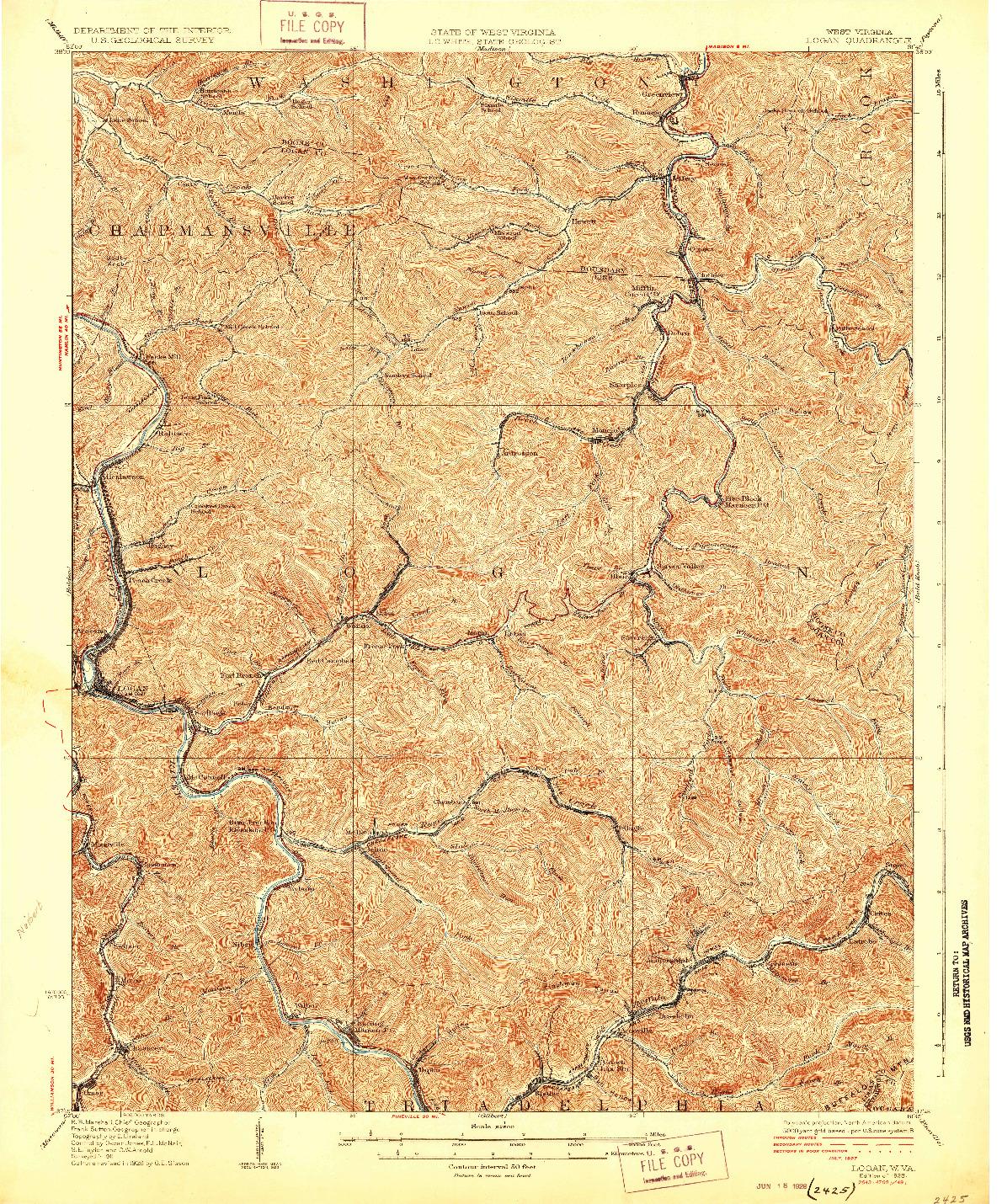 USGS 1:62500-SCALE QUADRANGLE FOR LOGAN, WV 1928