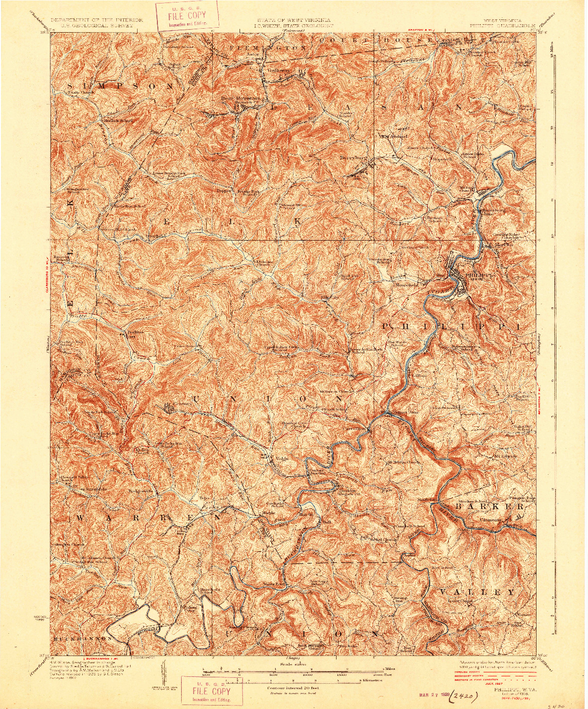 USGS 1:62500-SCALE QUADRANGLE FOR PHILIPPI, WV 1928