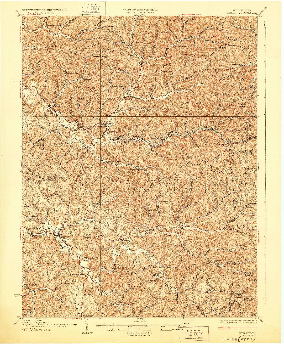 USGS 1:62500-SCALE QUADRANGLE FOR RIPLEY, WV 1928