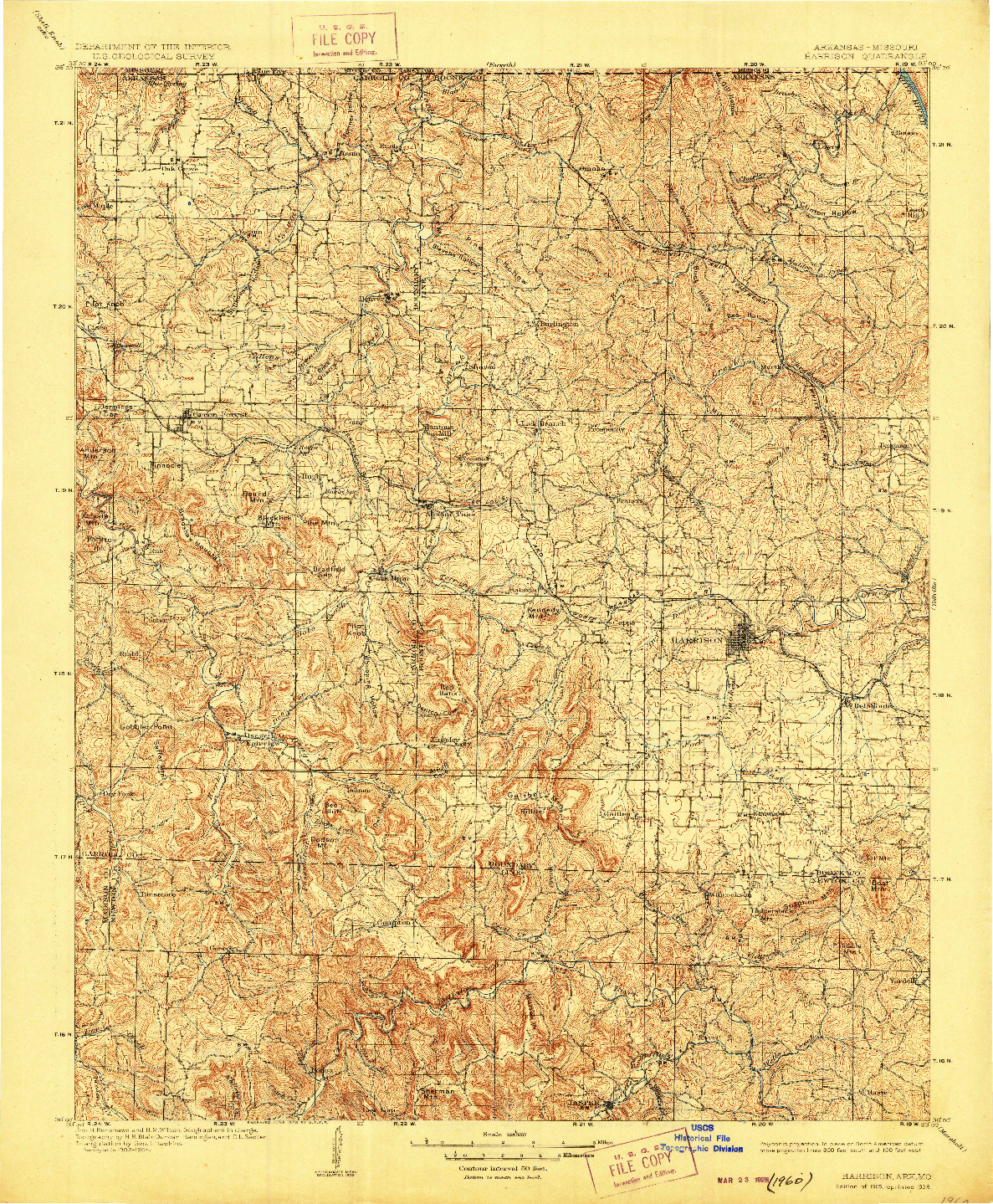 USGS 1:125000-SCALE QUADRANGLE FOR HARRISON, AR 1905
