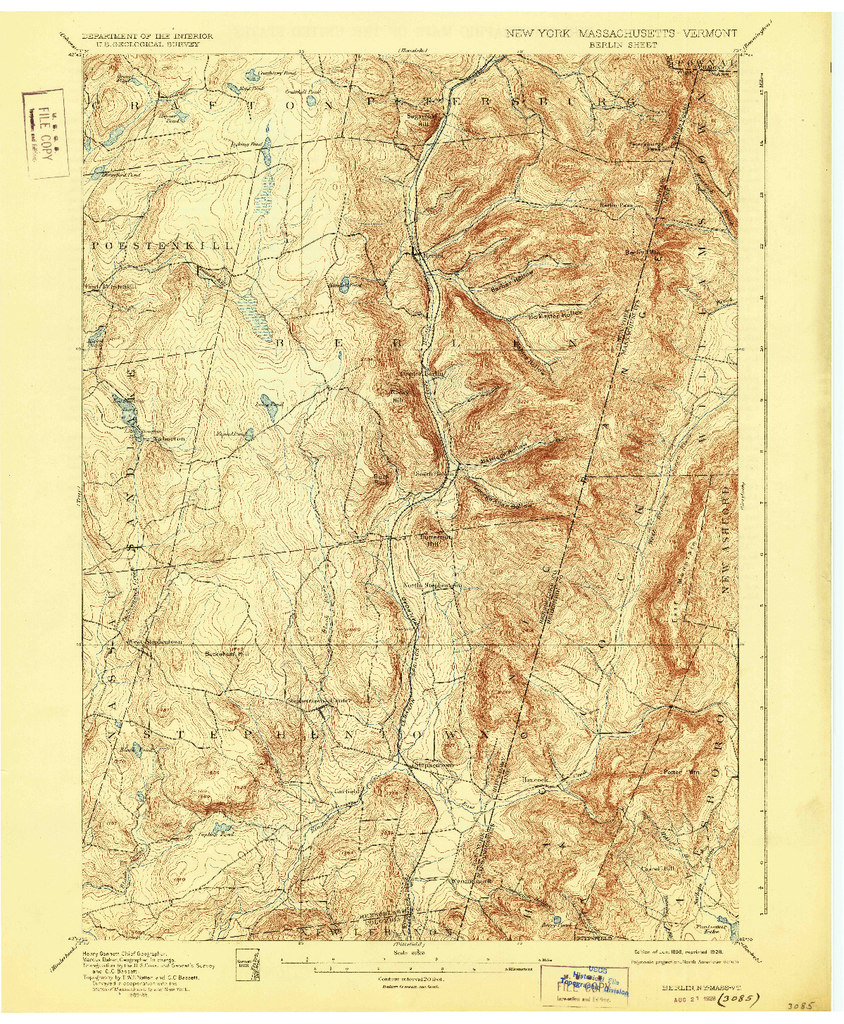 USGS 1:62500-SCALE QUADRANGLE FOR BERLIN, NY 1898
