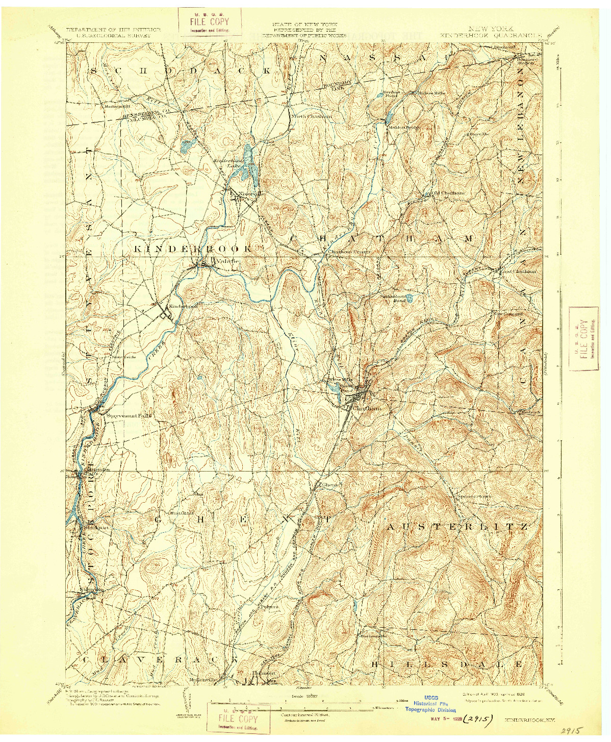 USGS 1:62500-SCALE QUADRANGLE FOR KINDERHOOK, NY 1903