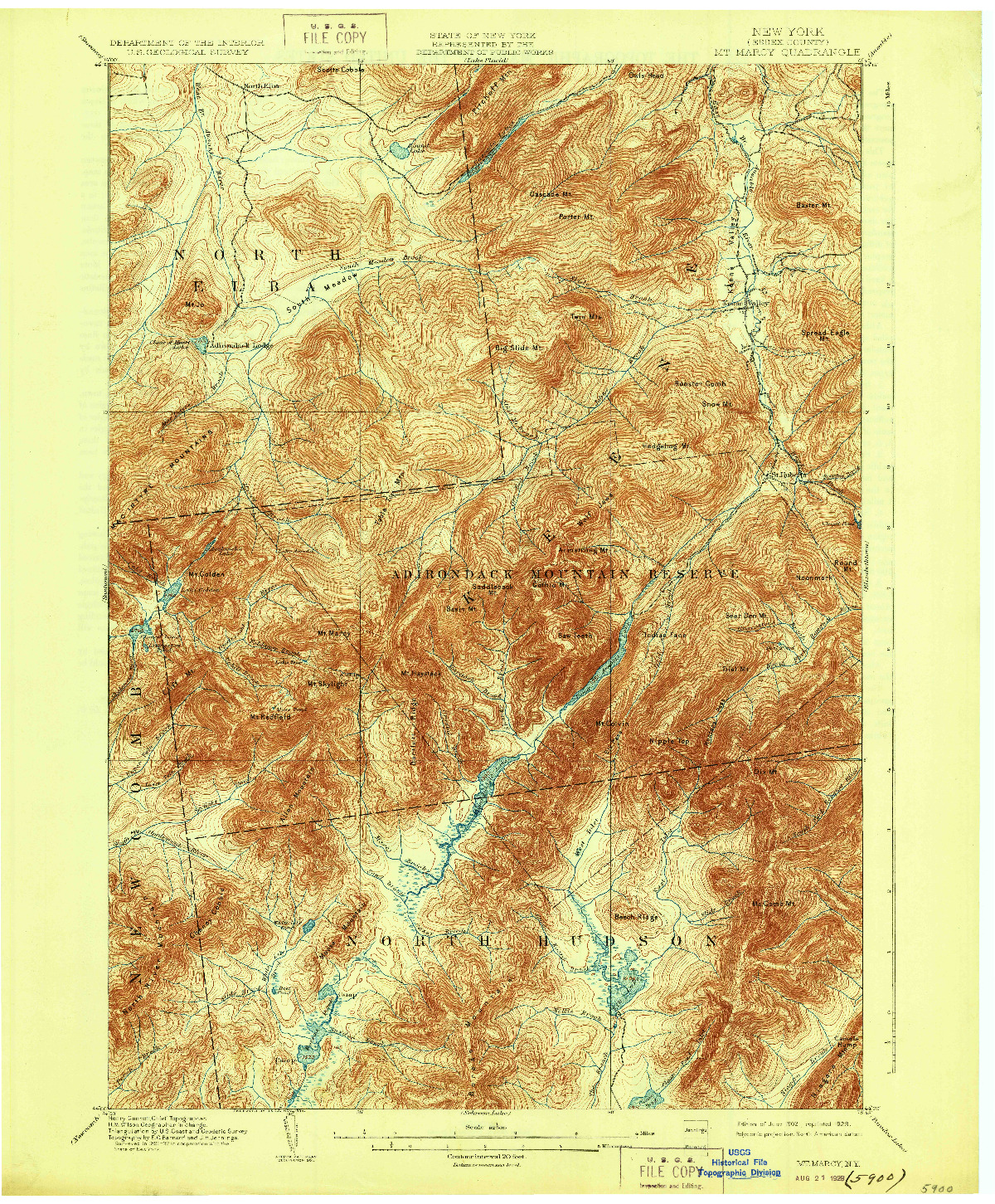USGS 1:62500-SCALE QUADRANGLE FOR MT. MARCY, NY 1902