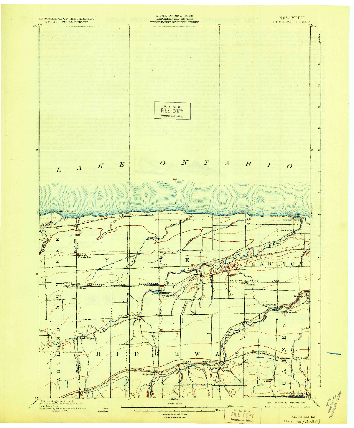 USGS 1:62500-SCALE QUADRANGLE FOR RIDGEWAY, NY 1897