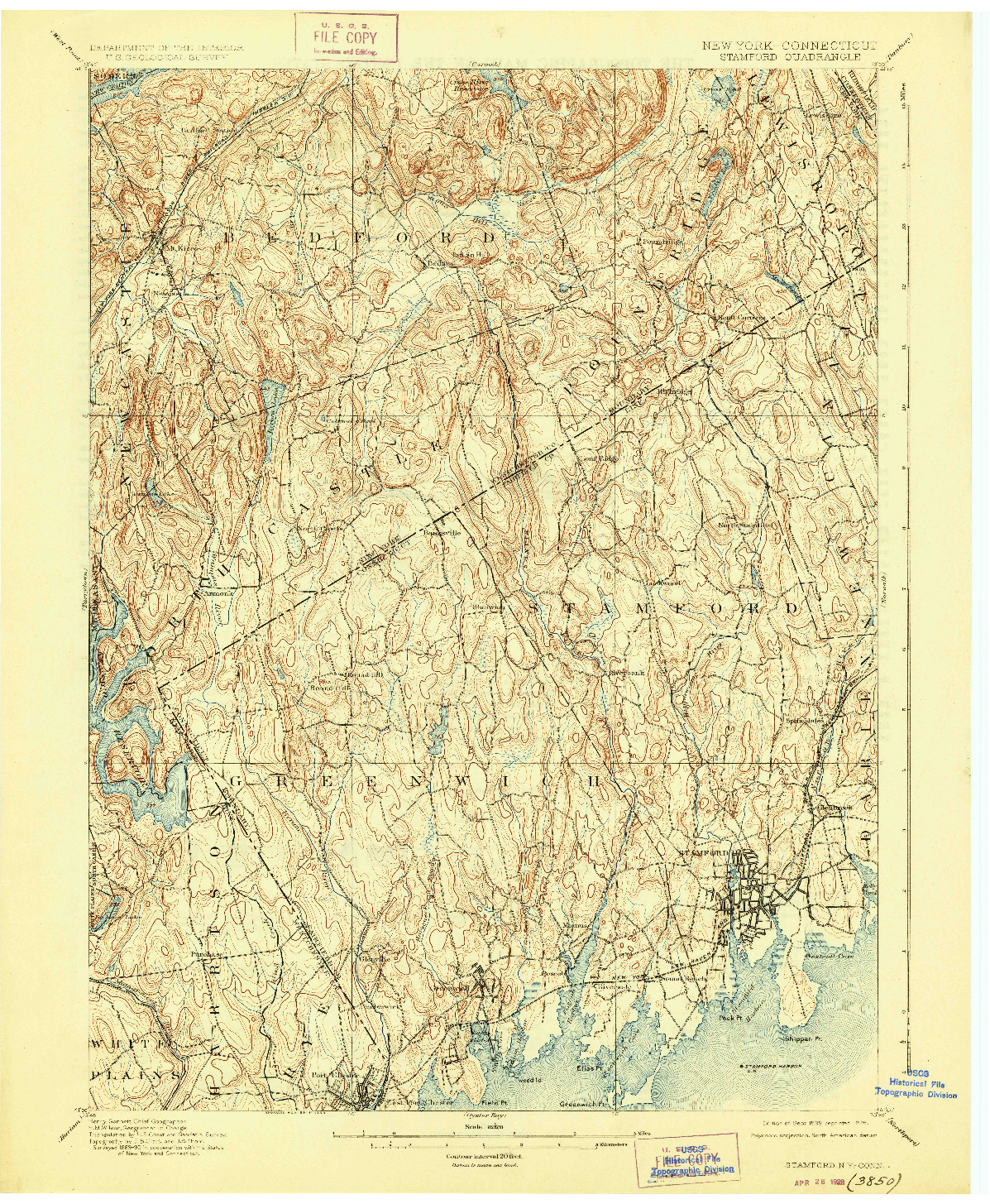 USGS 1:62500-SCALE QUADRANGLE FOR STAMFORD, NY 1899