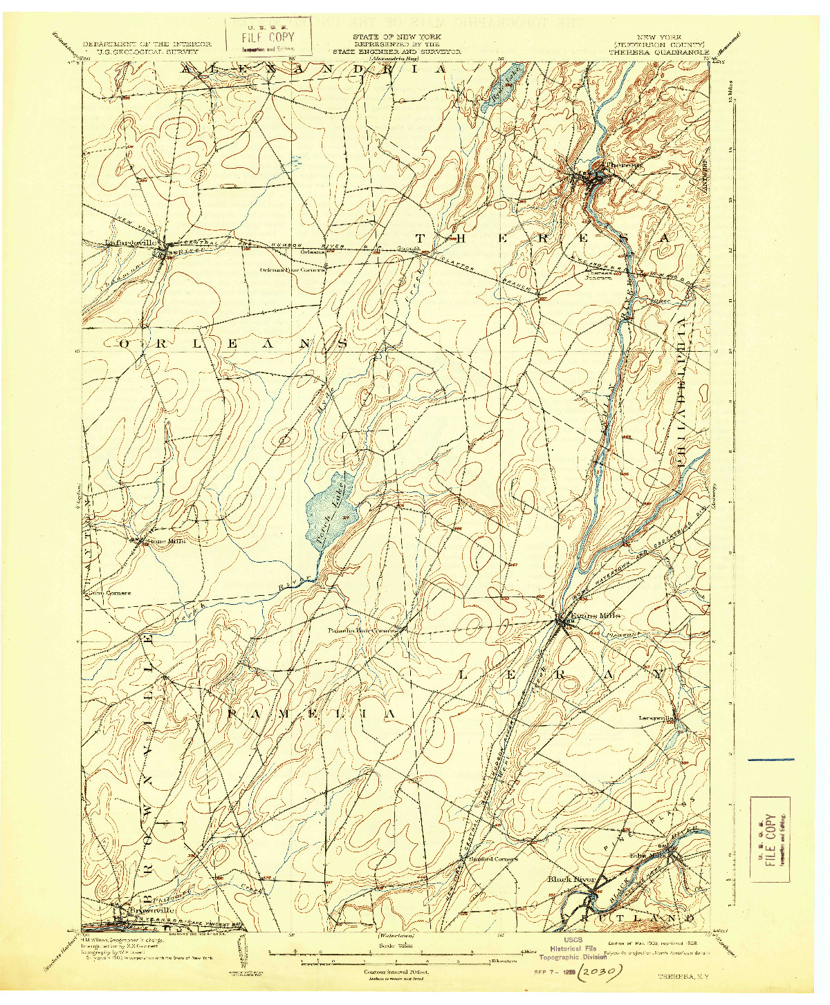 USGS 1:62500-SCALE QUADRANGLE FOR THERESA, NY 1903