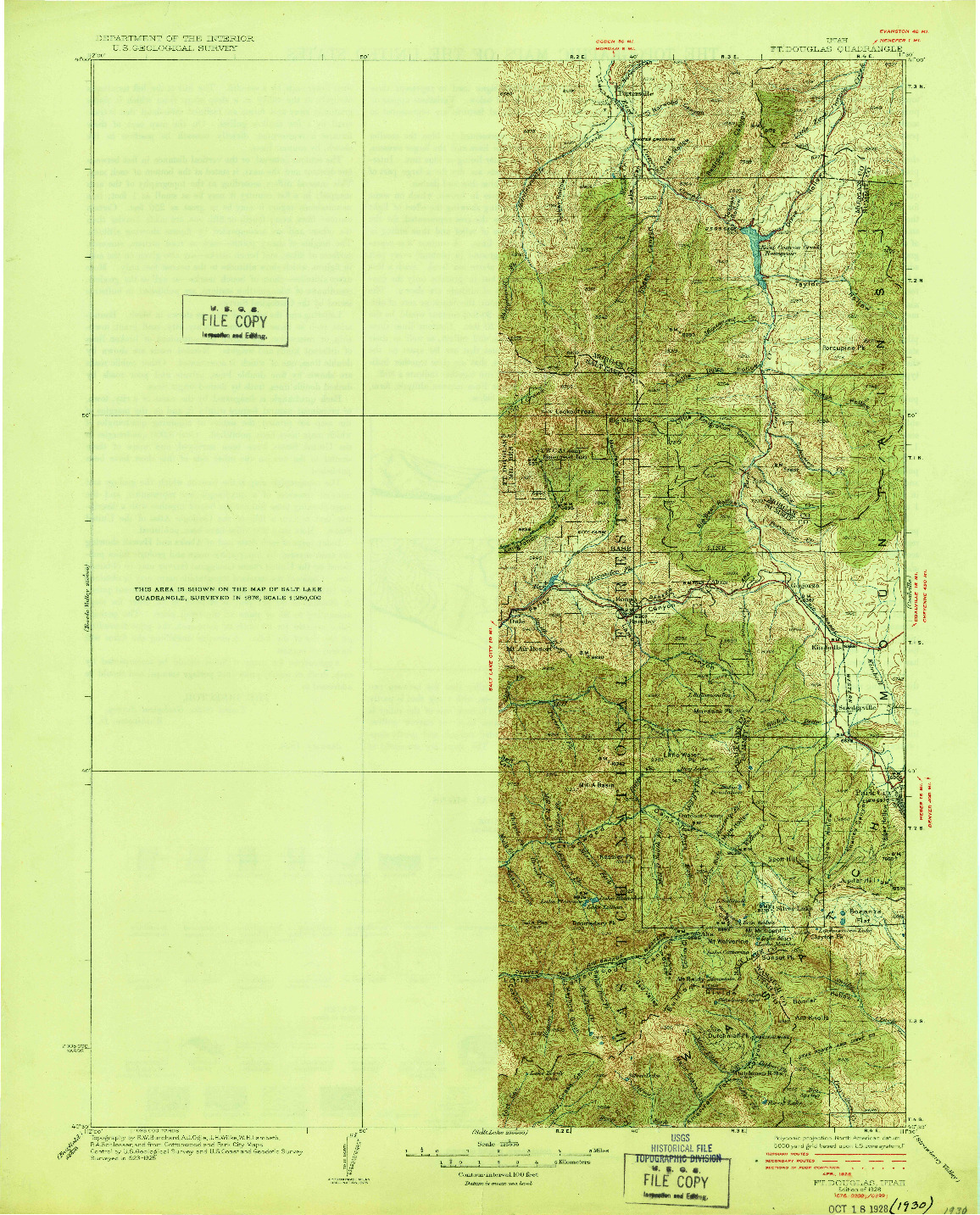USGS 1:125000-SCALE QUADRANGLE FOR FT. DOUGLAS, UT 1928