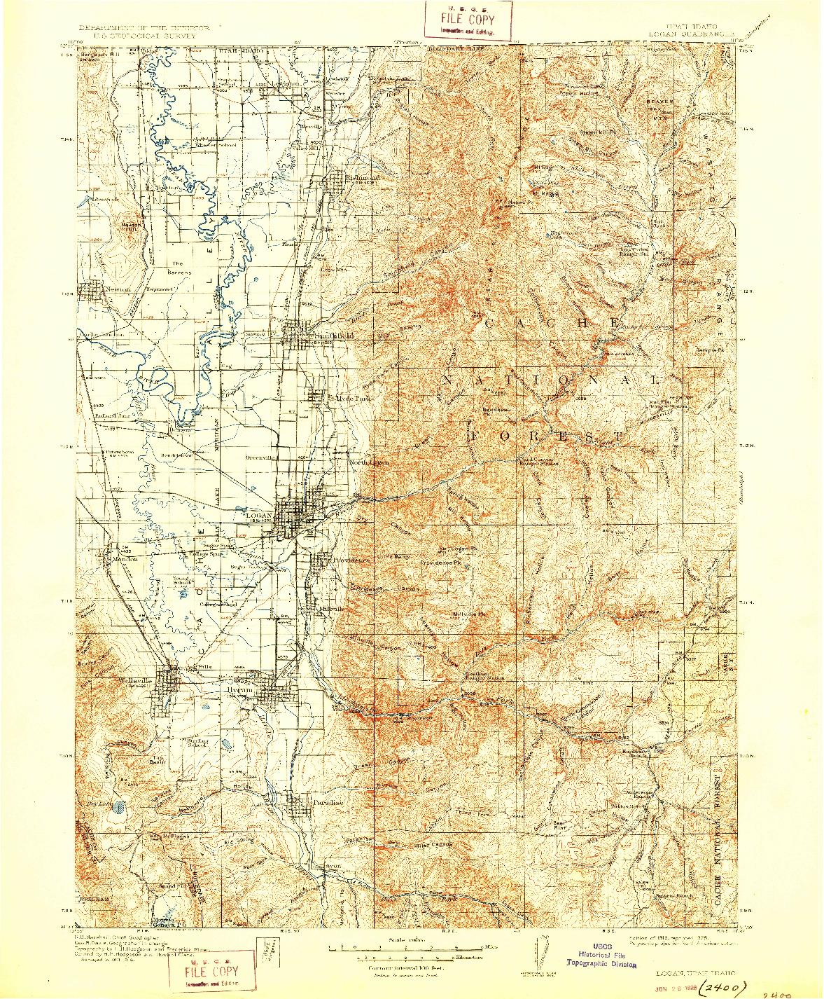 USGS 1:125000-SCALE QUADRANGLE FOR LOGAN, UT 1916