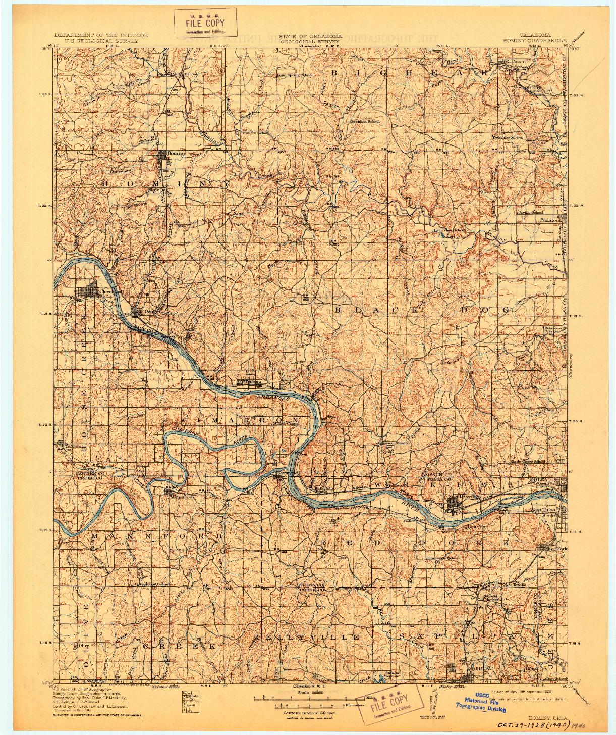 USGS 1:62500-SCALE QUADRANGLE FOR HOMINY, OK 1915