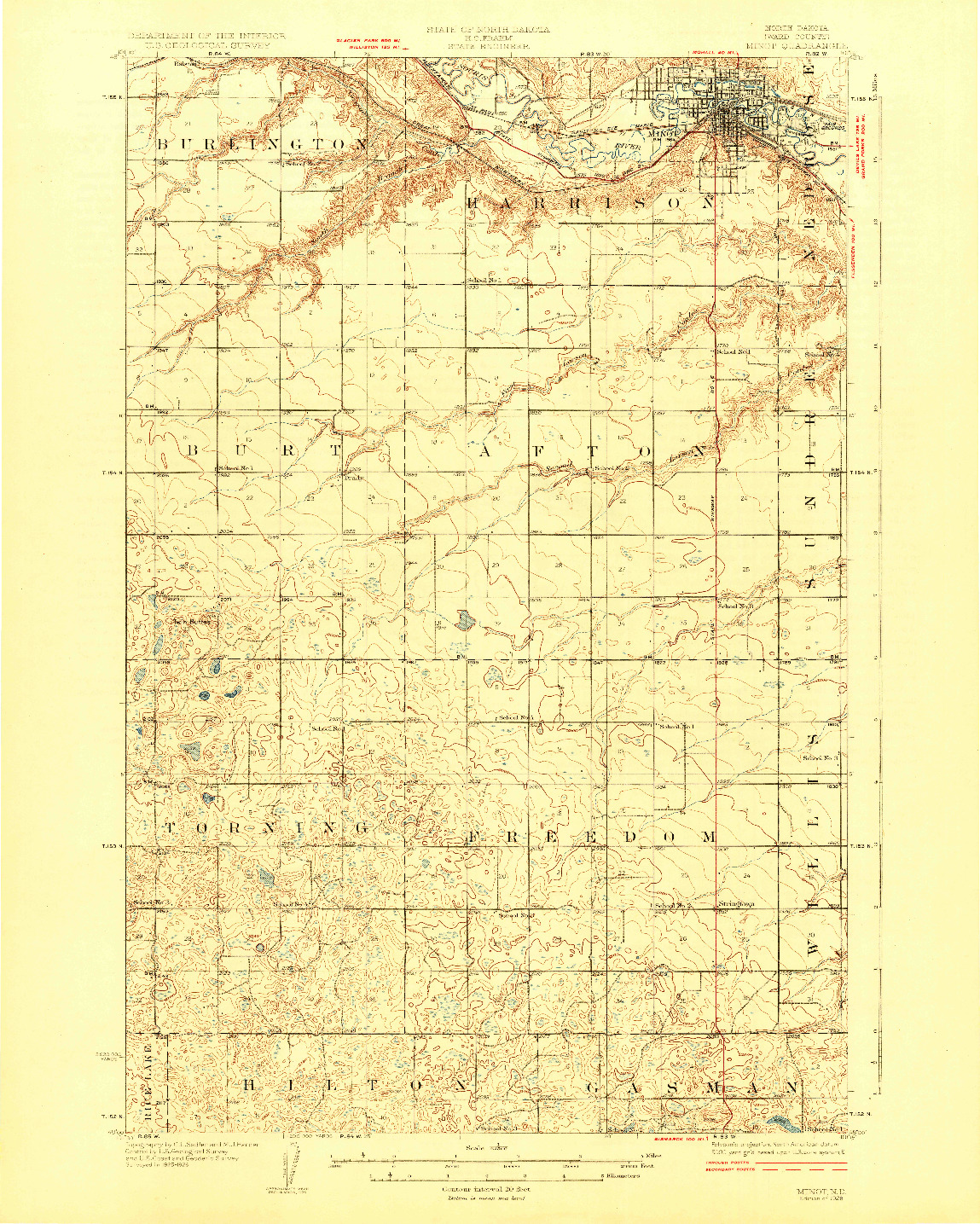 USGS 1:62500-SCALE QUADRANGLE FOR MINOT, ND 1928