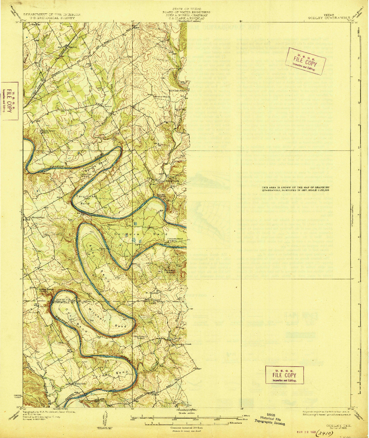 USGS 1:62500-SCALE QUADRANGLE FOR GODLEY, TX 1928