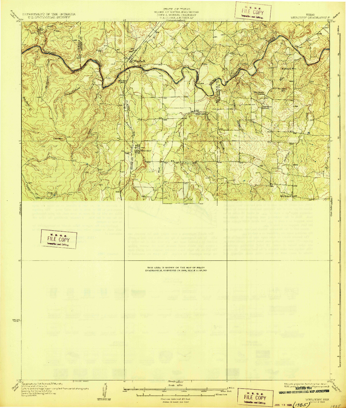 USGS 1:62500-SCALE QUADRANGLE FOR MERCURY, TX 1928