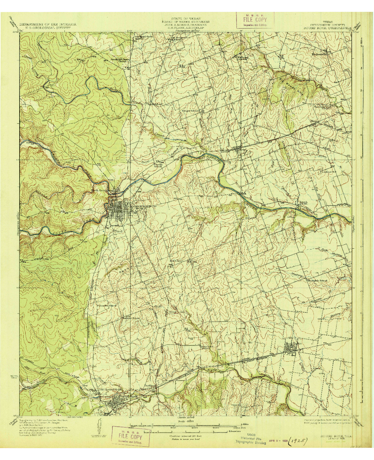USGS 1:62500-SCALE QUADRANGLE FOR ROUND ROCK, TX 1928