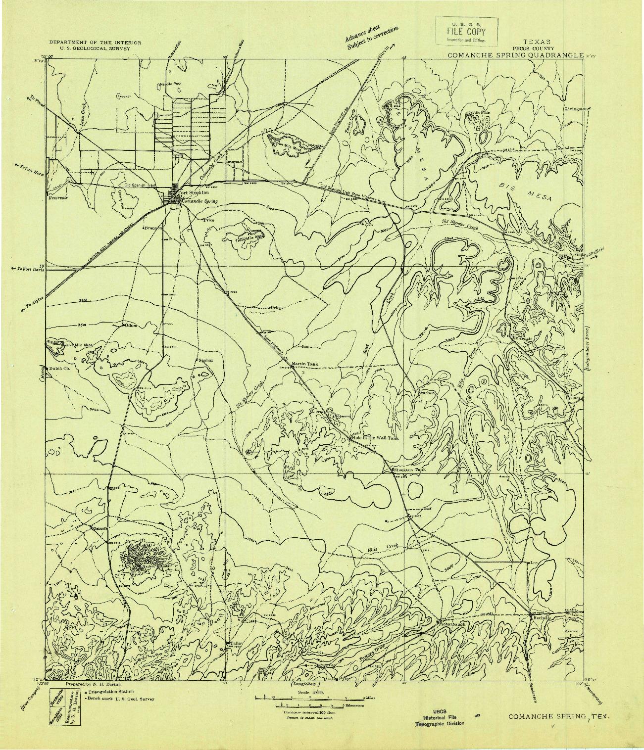 USGS 1:125000-SCALE QUADRANGLE FOR COMANCHE SPRING, TX 1928