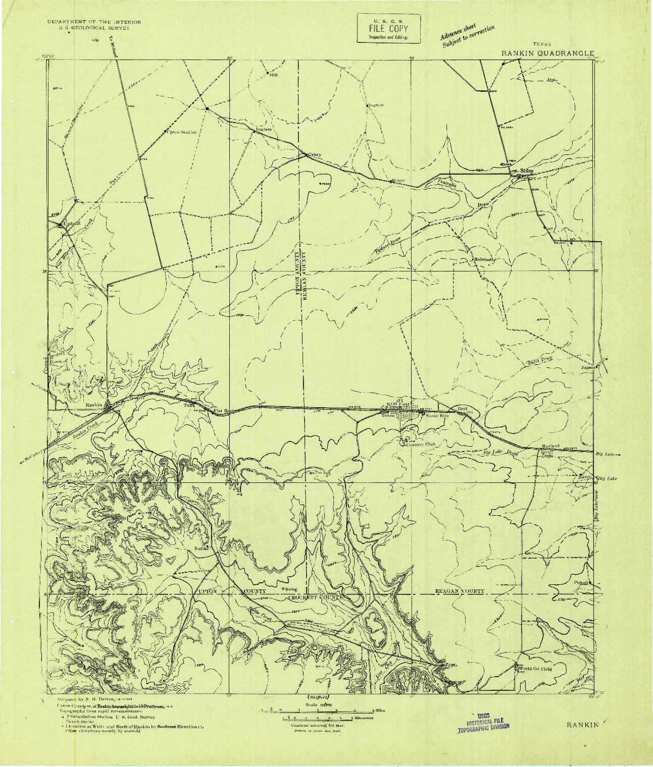 USGS 1:125000-SCALE QUADRANGLE FOR RANKIN, TX 1928
