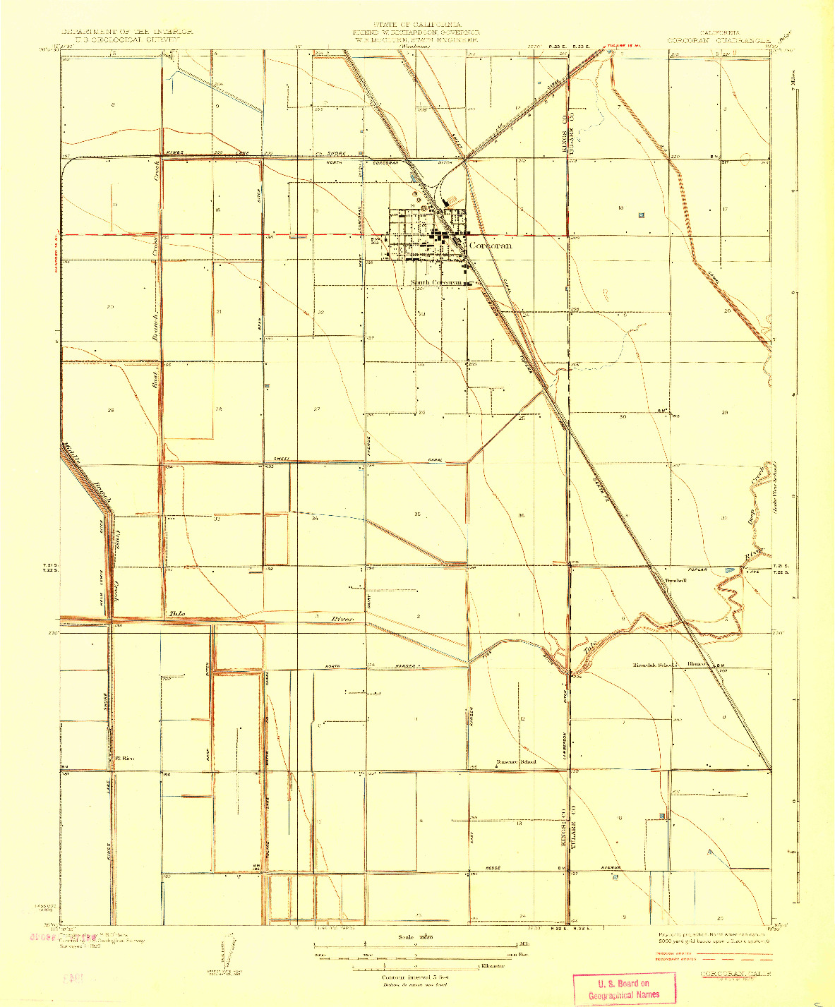 USGS 1:31680-SCALE QUADRANGLE FOR CORCORAN, CA 1928