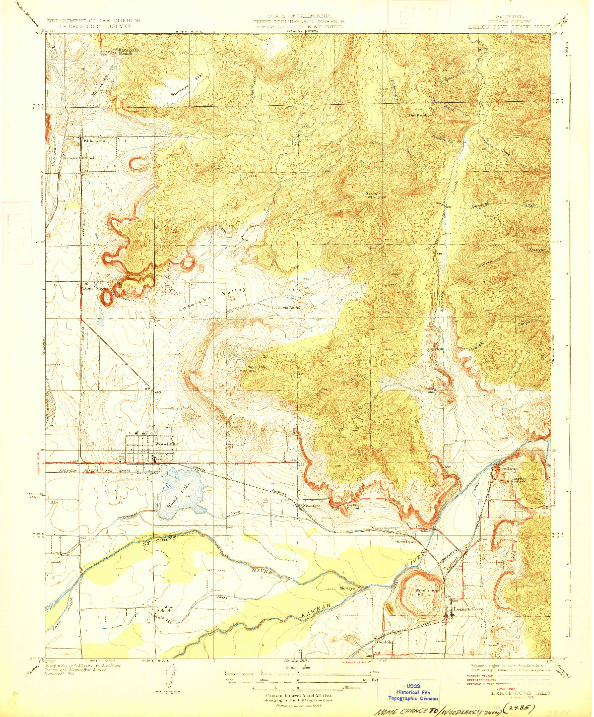 USGS 1:31680-SCALE QUADRANGLE FOR LEMON COVE, CA 1928